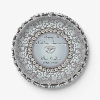 Wedding Anniversary Monogram Plate 7 Inch Paper Plate