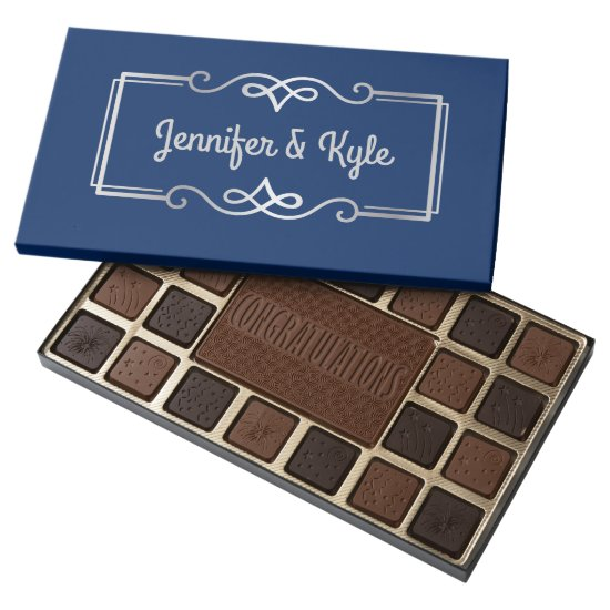 Wedding Anniversary Monogram Silver Navy Blue Assorted Chocolates