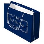 Wedding Anniversary Monogram Silver Navy Blue Large Gift Bag