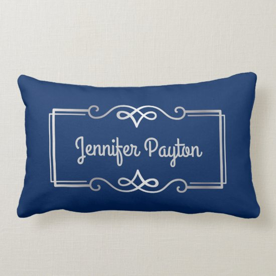 Wedding Anniversary Monogram Silver Navy Blue Lumbar Pillow