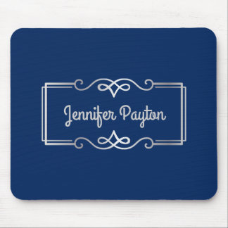 Wedding Anniversary Monogram Silver Navy Blue Mouse Pad