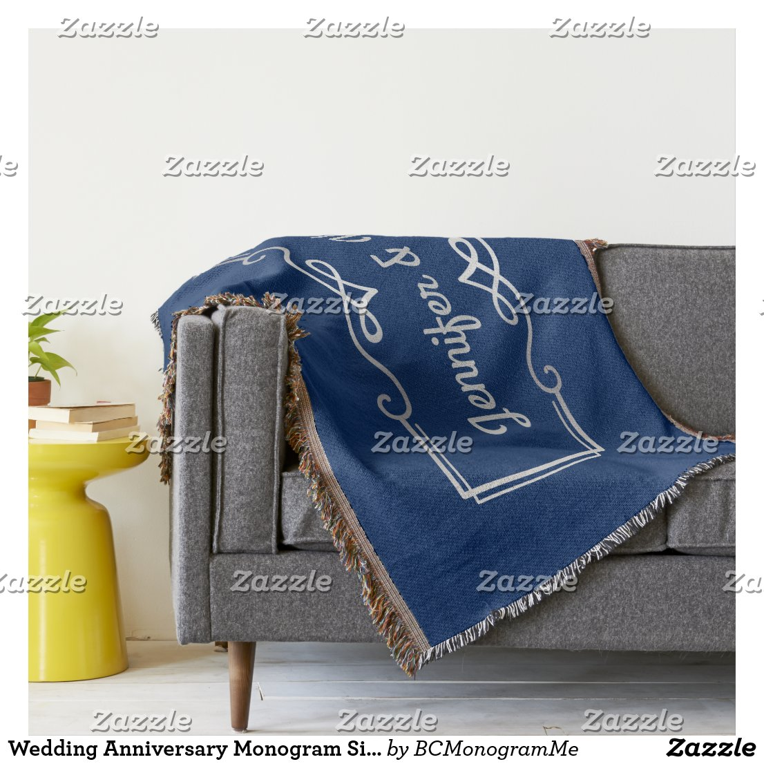 Wedding Anniversary Monogram Silver Navy Blue Throw Blanket