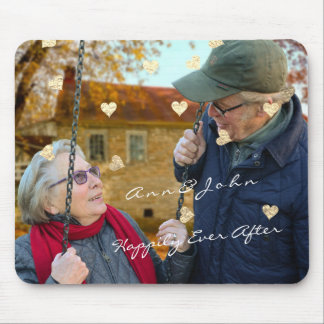 WeddinG Anniversary Name Photo Gold Hearts Gold Mouse Pad