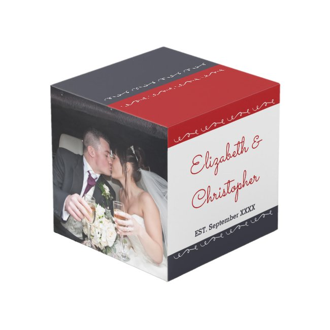 Wedding Anniversary names est date red grey Cube