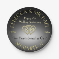 Wedding Anniversary Party Black Gold Paper Plate