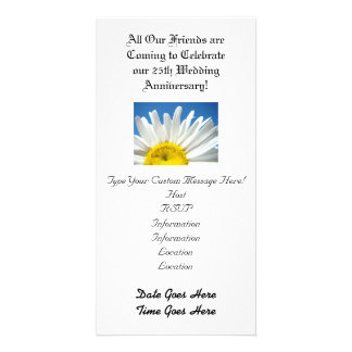Wedding Anniversary! Party Invitations White Daisy Photo Card Template