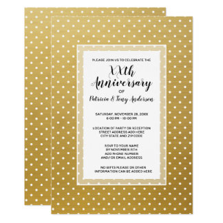 Wedding Anniversary Party Modern Polka 50th gold Card