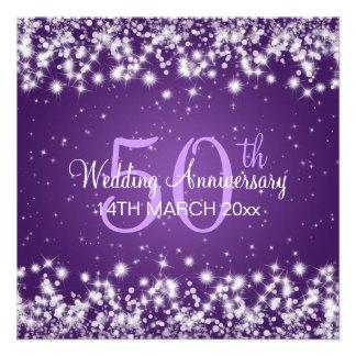 Wedding Anniversary Party Winter Sparkle Purple Announcements