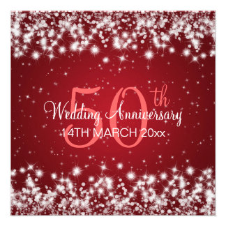 Wedding Anniversary Party Winter Sparkle Red Personalized Invite