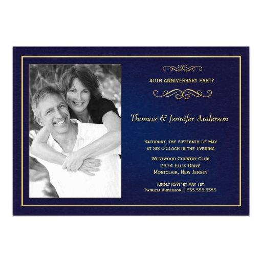Wedding Anniversary Photo Invitations - 40th