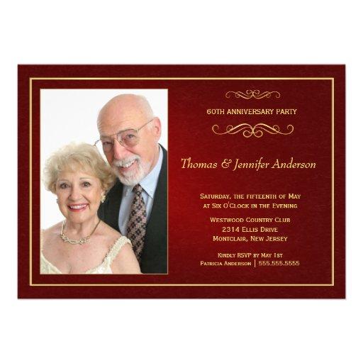 Wedding Anniversary Photo Invitations - 60th