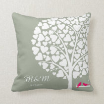 Wedding Anniversary pillow tree love birds