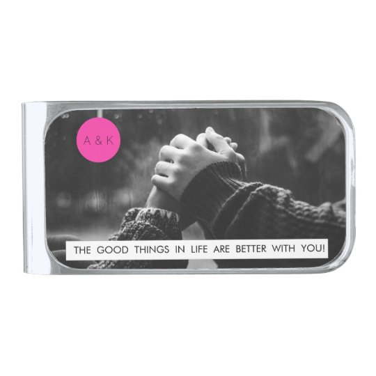 Wedding Anniversary Quote Custom Photo Monogram Silver Finish Money Clip Zazzle Com