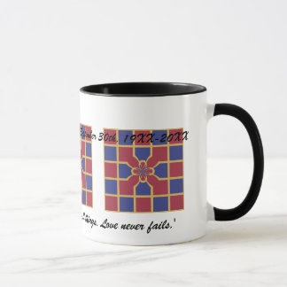 Wedding Anniversary Red Navy Geometric With Name Mug