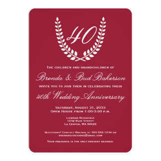 Wedding Anniversary - Ruby Red with White Laurel Card