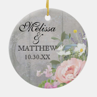 Wedding Anniversary Rustic Country Chic Floral Art Ceramic Ornament