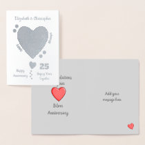 Wedding Anniversary Silver 25th 25 years Foil Card