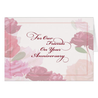 Wedding Anniversary to Friends Rose Card