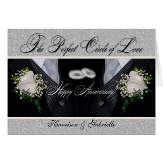 Wedding Anniversary   Two Grooms   Silver Damask Card