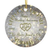 Wedding Anniversary Two Hearts Ceramic Ornament