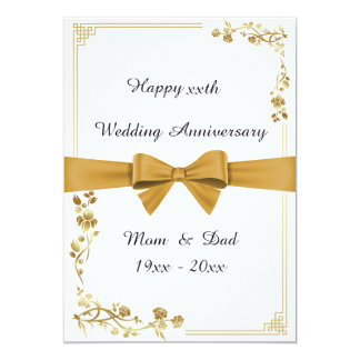 Wedding anniversary, white, gold ribbon, text back card