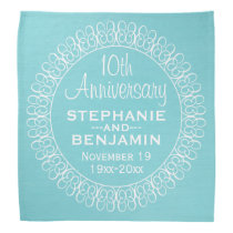 Wedding Anniversary with Teal Blue Background Bandana