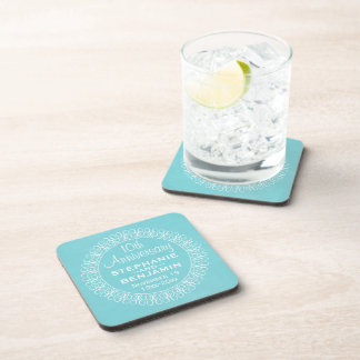 Wedding Anniversary with Teal Blue Background Drink Coaster