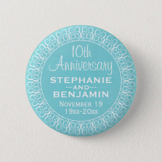 Wedding Anniversary with Teal Blue Background Pinback Button