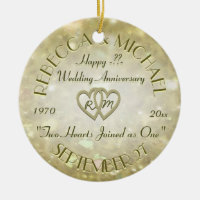 Wedding Anniversary with Two Hearts Ceramic Ornament