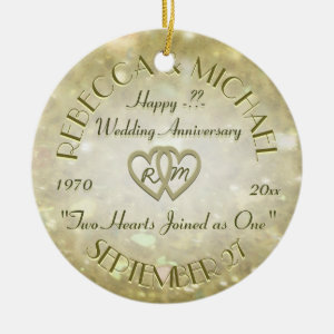 Wedding Anniversary with Two Hearts Double-Sided Ceramic Round Christmas Ornament
