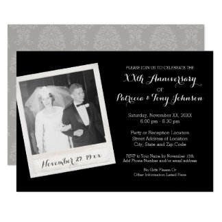 Wedding Anniversary with Vintage Photo Frame Invitation