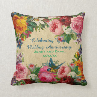 Wedding Anniversay 1st 20th 25th 30th Personalized Throw Pillow