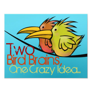 Wedding Announcement, 2 Birds on a Wire, Funny 4.25x5.5 Paper Invitation Card