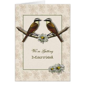 Wedding Announcement, Birds Face to Face, Daisies Card
