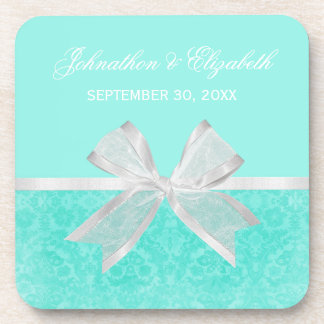 Wedding Announcement Chic Aqua Damask White Bow Beverage Coaster