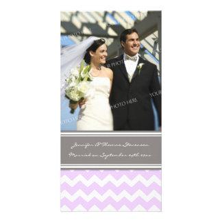 Wedding Announcement Photo Card Grey Lilac Chevron