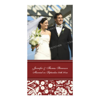 Wedding Announcement Photo Card Red Damask