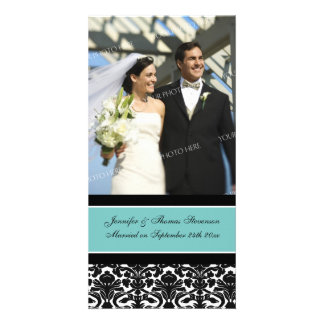 Wedding Announcement Photo Card Teal Damask