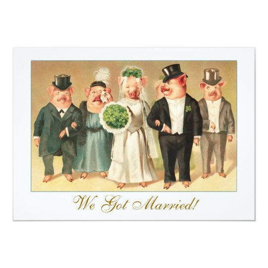 Wedding Announcement with Formal Pig Bridal Party