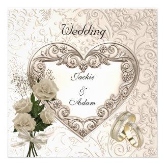 Wedding Antique Floral Roses Beige Cream Invite Announcements