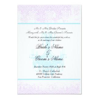 Wedding Antique Lavender Damask Chandelier Card