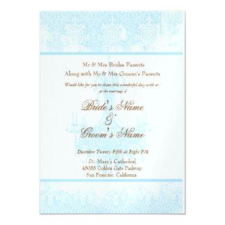 Wedding Aqua Blue Antique Damask Chandelier Card