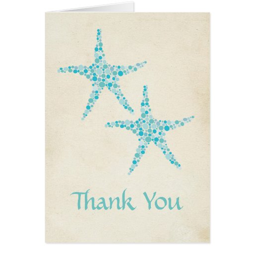 Wedding Aqua Turquoise Starfish Thank You Card