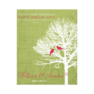 Wedding art bird tree print green and pink stretched canvas prints