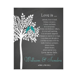 Wedding art bird tree print guest book canvas stretched canvas print