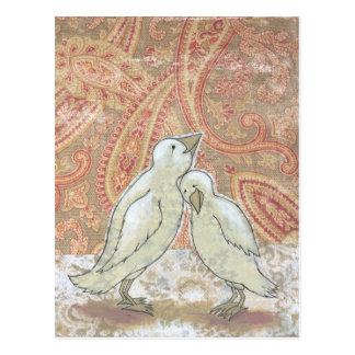 Wedding art blank postcards perfect couple birds