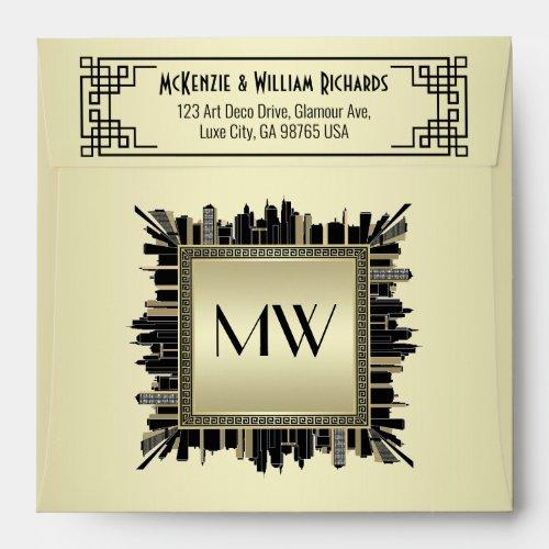 Wedding Art Deco Champagne Gold Gatsby Glamour Envelope