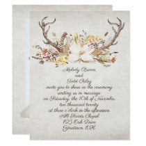 wedding autumn bouquet and deer antlers card