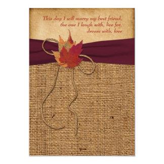 Wedding | Autumn Leaves | FAUX Burlap | Wine 5x7 Paper Invitation Card