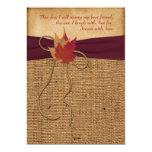 Wedding   Autumn Leaves   FAUX Burlap   Wine 5x7 Paper Invitation Card